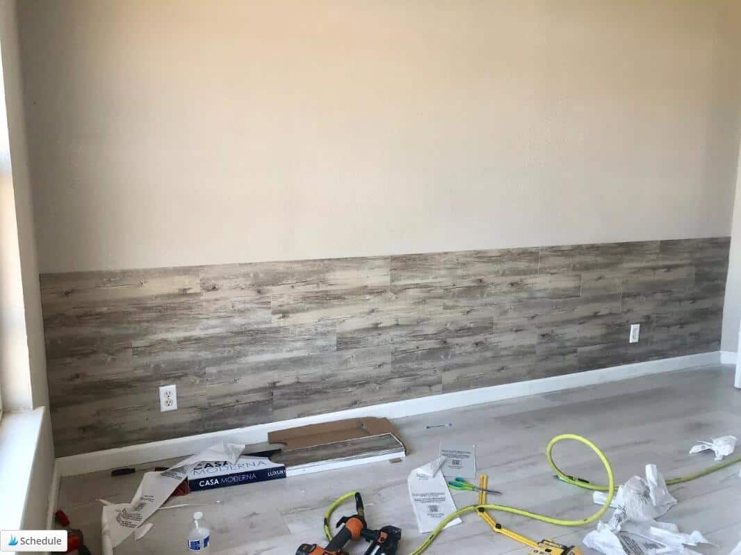 how to Install Vinyl Plank Flooring on Wall (1)