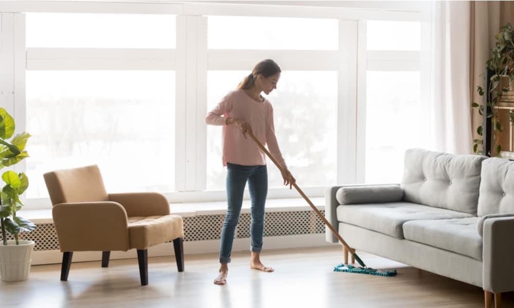 Always rinse vinyl flooring after mopping.