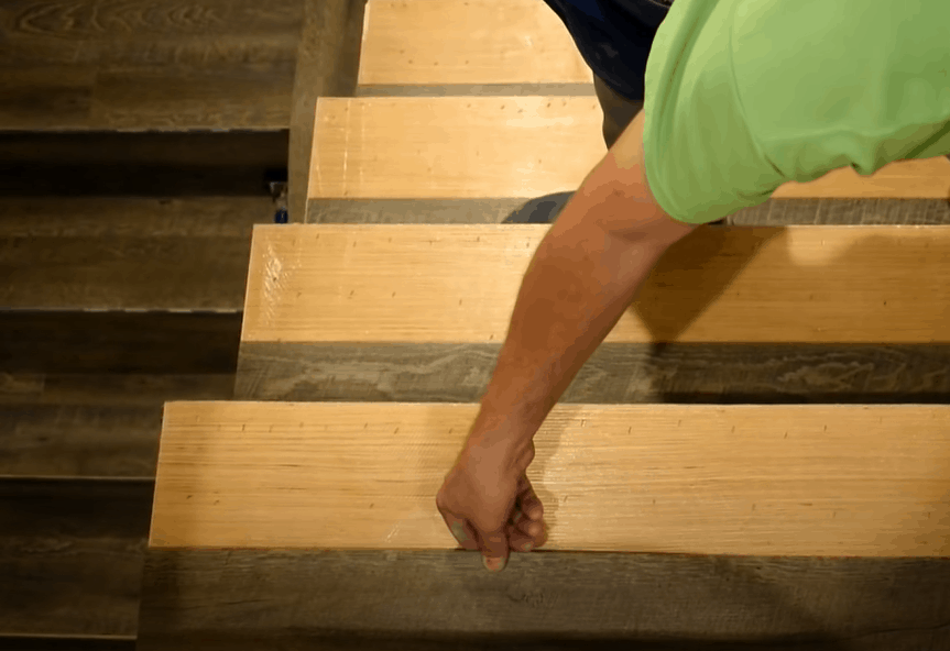 Now install the stair tread