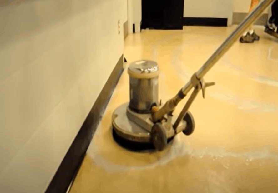 Rinse the vinyl floor