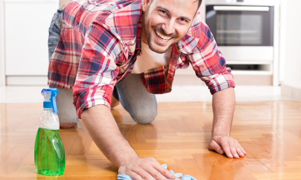 Use a specialist vinyl floor cleaner