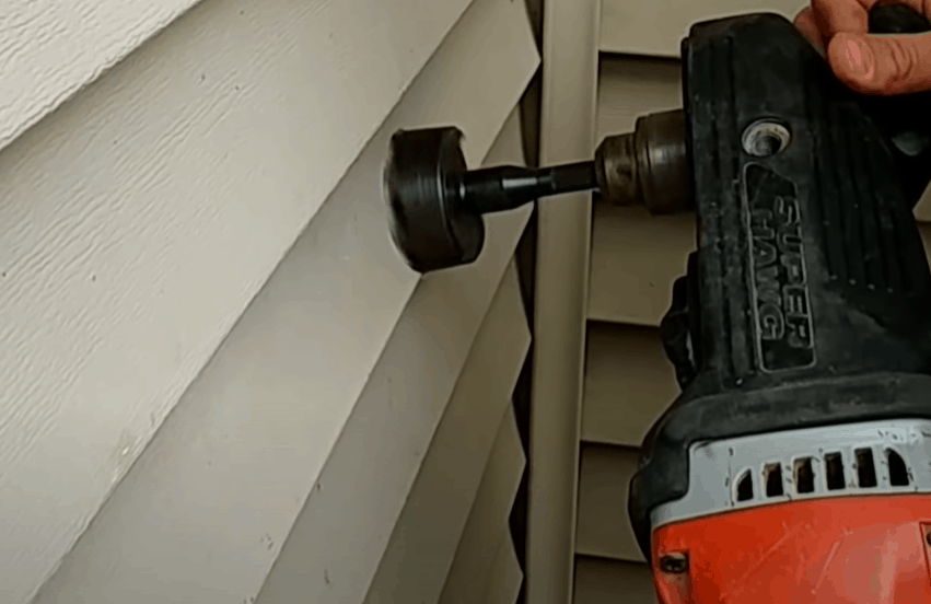 Drill through the siding