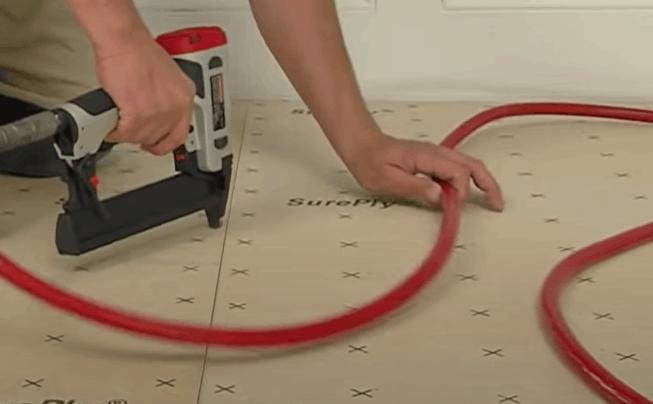 Fasten the plywood underlayment