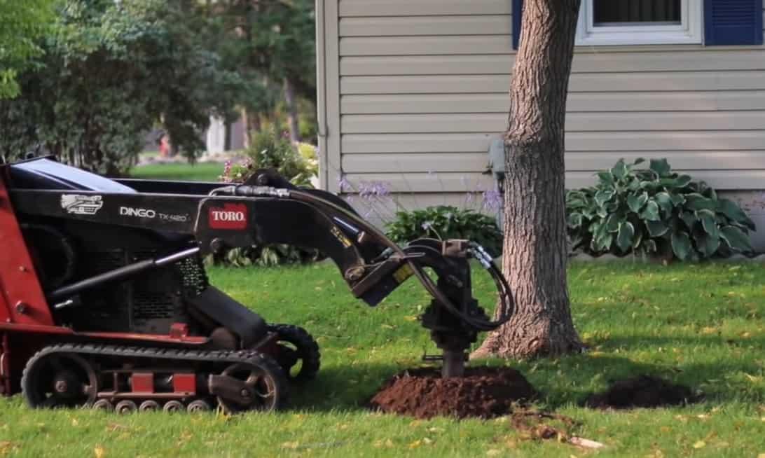 Dig holes for line posts