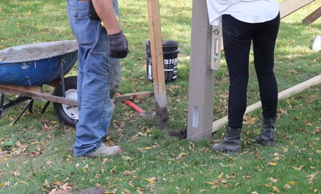 Fix the line posts with cement